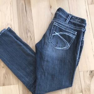Silver grey wash skinny Aiko jeans.  GUC